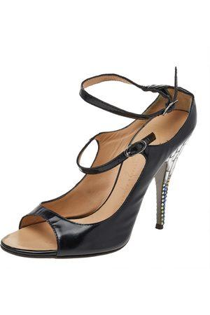 Giuseppe Zanotti Leather Embellished Heel Ankle Strap Sandals Size 37