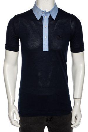 Dolce & Gabbana Navy Jersey Contrast Collar Detail Polo T Shirt M