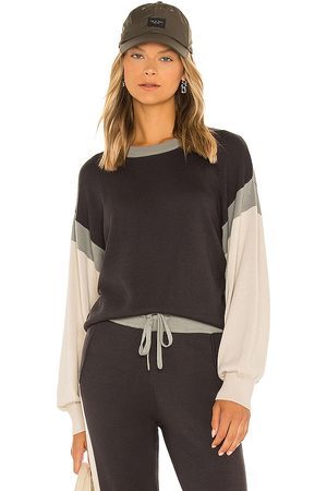 MONROW Color Block Relaxed Sweater in Navy,Green.