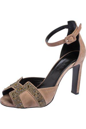 Hermès Suede Highlight Crystal Embellished Ankle Strap Sandals Size 38