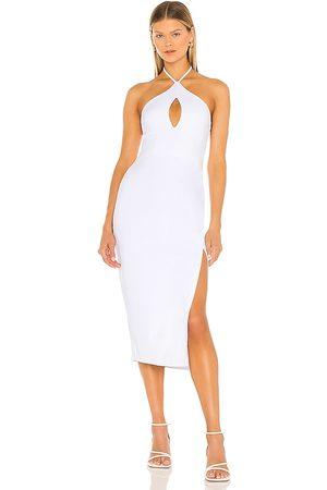 Susana Monaco Halter Open Front Midi Dress in White.