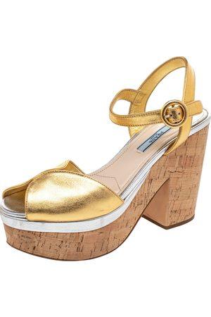 Prada Leather Platform Cork Block Heel Ankle Strap Sandals Size 38.5