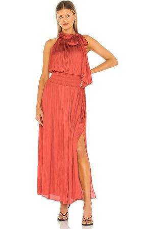 BCBG Max Azria Pleated Gown in Rust.