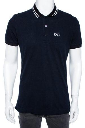 Dolce & Gabbana Navy Cotton Striped Collar Detail Polo T-Shirt L