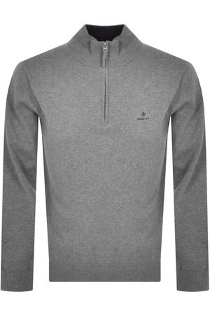Gant Half Zip Pique Jumper Grey
