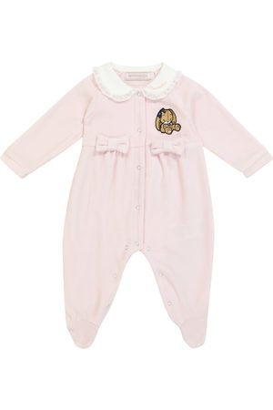 Monnalisa Baby cotton-blend onesie with bows