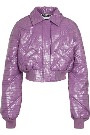 ROTATE Rosa croc-effect bomber jacket