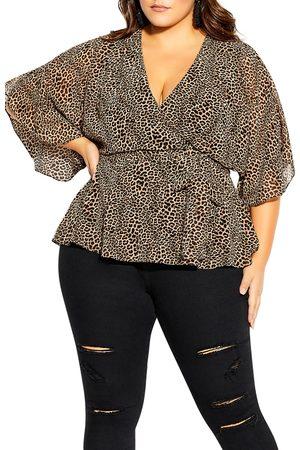 City Chic Plus Size Women's Leopard Print Faux Wrap Top