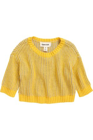Open Edit Infant Girl's Organic Cotton Contrast Sweater
