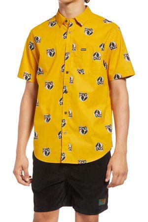 Gotcha Men's New Idea Peace Skull Short Sleeve Button-Up Shirt