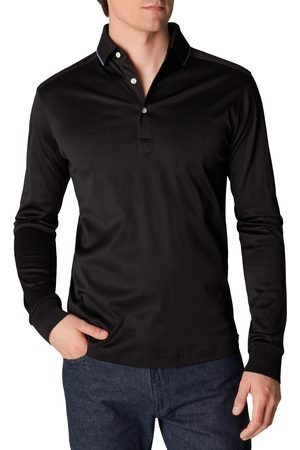 Eton Men's Contemporary Fit Tipped Long Sleeve Polo