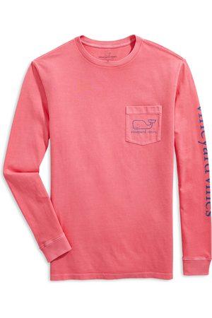 Vineyard Vines Men's Garment Dyed Vintage Whale Long-Sleeve Pocket Graphic Tee