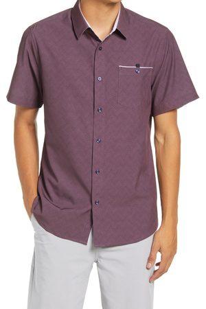 7 Diamonds Men Short sleeves - Men's Groovy Wonder Print Short Sleeve Stretch Button-Up Shirt