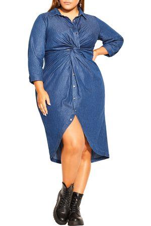 City Chic Plus Size Women's Twist Front Cotton Chambray Shirtdress