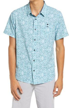 7 Diamonds Men Short sleeves - Men's Track Stars Print Short Sleeve Stretch Button-Up Shirt
