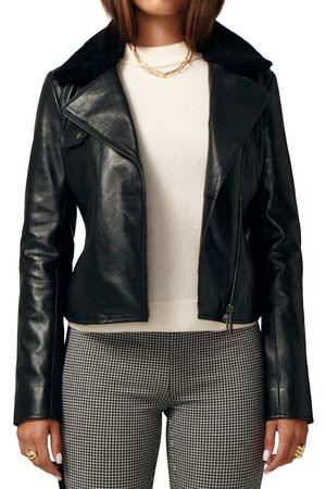 LITA by Ciara Women's Ultimate Biker Leather Jacket With Genuine Shearling Collar