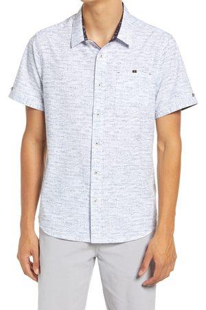 7 Diamonds Men's Televised Mind Print Short Sleeve Stretch Button-Up Shirt