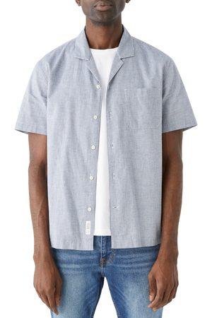 FRANK AND OAK Men's Check Short Sleeve Organic Cotton & Linen Button-Up Shirt