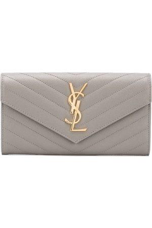 Saint Laurent Women Wallets - Large Monogram flap wallet - Grey