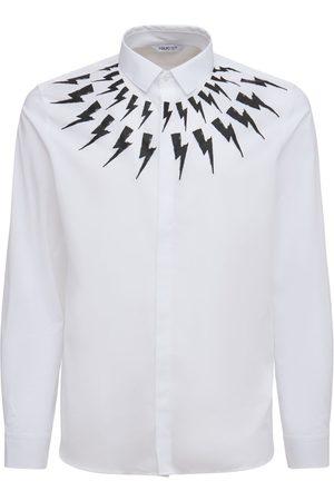 NEIL BARRETT Men Shirts - Chalk Fair-isle Thunderbolt Cotton Shirt