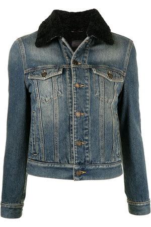 Saint Laurent Women Denim Jackets - Shearling-trim collar denim jacket