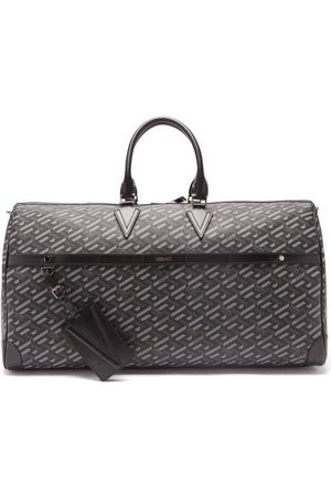 Versace Men Travel Bags - Logo-print Canvas And Leather Holdall Bag - Mens - Grey