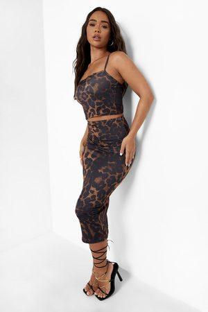 Boohoo Womens Leopard Print Crop & Midaxi Skirt - - 4