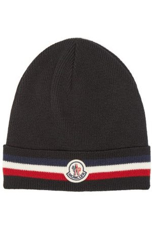 Moncler Logo-patch Tricolour-stripe Wool Beanie Hat - Mens