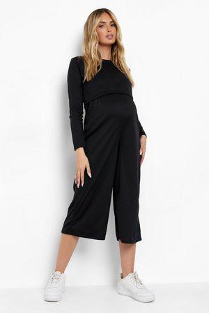 Boohoo Womens Maternity Rib Nursing Culotte Jumpsuit - - 4