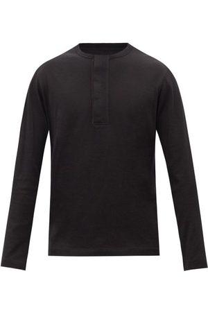Ermenegildo Zegna Men Long sleeves - Long-sleeve Cotton-blend Jersey Henley Shirt - Mens