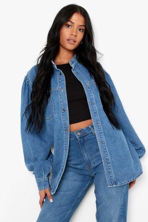 Boohoo Womens Tall Volume Sleeve Grandad Collar Denim Shirt - - 2