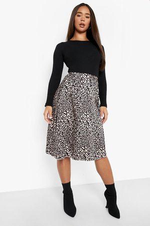 Boohoo Womens Animal Print Satin Slip Midi Skirt - - 2