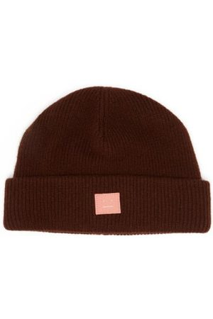 Acne Studios Kansy Face Wool Beanie Hat - Mens - Dark