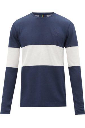 Iffley Road Men Long Sleeve - Hove Striped Technical-jersey Long-sleeve T-shirt - Mens - Navy