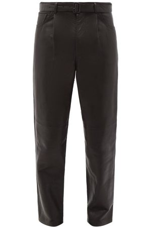 Auralee Belted Pleated Leather Trousers - Mens