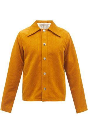 Séfr Trust Spread-collar Faux-suede Jacket - Mens - Dark