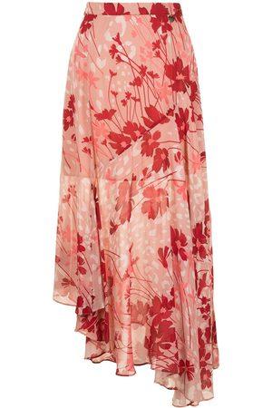 TWINSET Floral print asymmetric fluid skirt - Multicolour