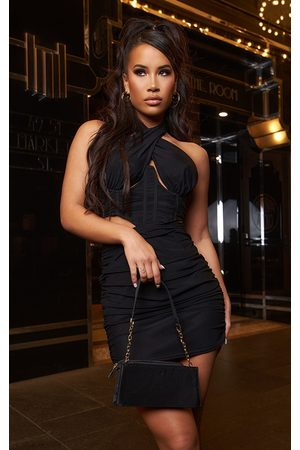 PRETTYLITTLETHING Mesh Halterneck Underbust Detail Cut Out Ruched Bodycon Dress