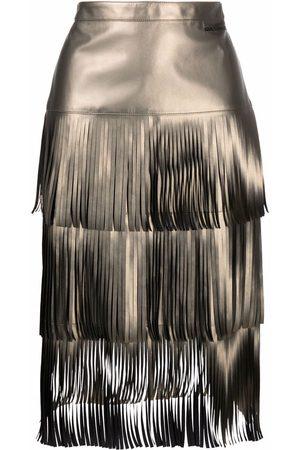 Karl Lagerfeld Women Leather Skirts - Fringe-detail faux leather skirt
