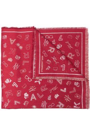 Karl Lagerfeld K/Pins patterned jacquard scarf