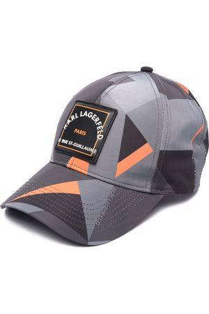 Karl Lagerfeld Men Caps - Geometric logo-patch cap - Grey