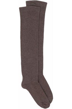 Rick Owens Men Socks - Intarsia-knit logo knee-length socks