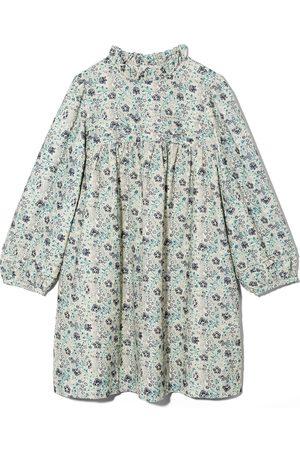 BONPOINT Floral print ruffled neck dress - Neutrals