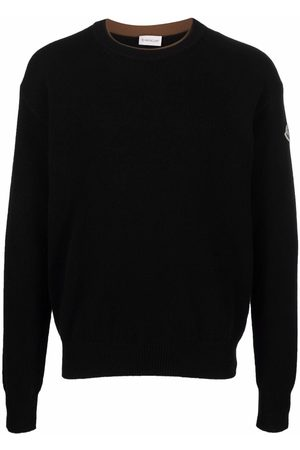 Moncler Men Long sleeves - Logo-patch long-sleeve jumper