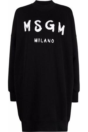 MSGM Women Sweatshirts - Brushstroke-logo sweatshirt dress