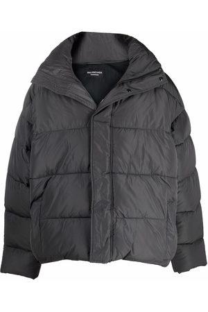 Balenciaga Men Puffer Jackets - Embroidered logo puffer jacket - Grey