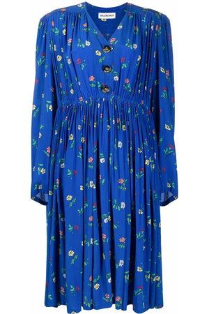 Balenciaga Women Printed Dresses - Oversized floral-print silk dress