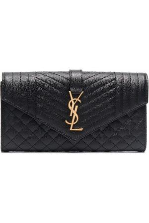 Saint Laurent Women Wallets - Large flap wallet in grain de poudre embossed leather