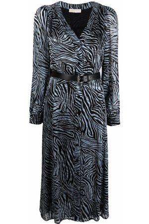 Michael Michael Kors Women Printed Dresses - Zebra-print midi shirt dress