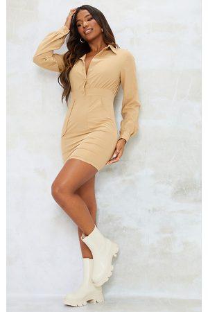 PRETTYLITTLETHING Women Bodycon Dresses - Camel Popper Down Pocket Detail Bodycon Dress